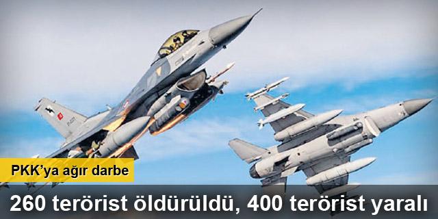 PKK'ya ağır darbe! 260 terörist öldürüldü, 400 terörist yaralı